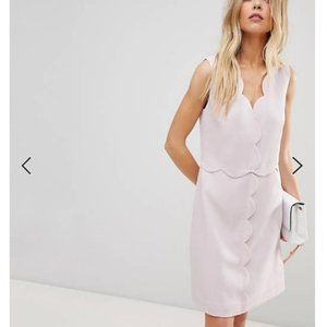 Ted Baker rebeyed Scallop Edge pink Dress 1 nwt